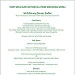 Fort William Historical Park Banquet Menu